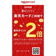 Rakuten point double campaign is open by the Rakuten card use!